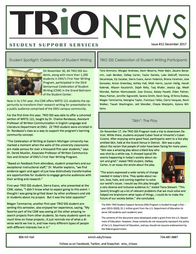 Eastern Michigan University TRIO newsletter, December 2017.